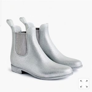 J. Crew Chelsea Glitter Rain Boots /Booties